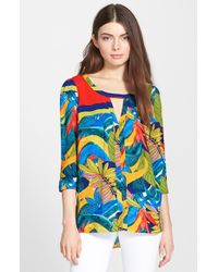 Plenty by Tracy Reese | Blue 'kurta' Foliage Print Peasant Top | Lyst
