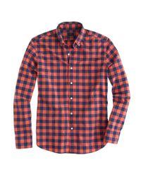 J.Crew | Orange Tall Secret Wash Shirt in Large Twocolor Gingham for Men | Lyst