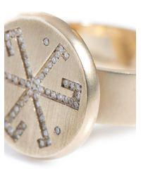 DINA KAMAL DK01 - Metallic Diamond & Gold Flat-Coin Pinky Ring - Lyst