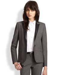 The Kooples | Gray Prince De Galles Leather-Trimmed Stretch Wool Blazer | Lyst