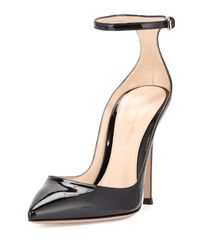Gianvito Rossi - Black Ankle-Strap Patent-Leather Pumps - Lyst