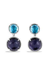 David Yurman Metallic Châtelaine Double-drop Earrings With Black Orchid & Blue Topaz