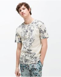 Zara | Natural Printed T-shirt for Men | Lyst