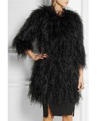 Temperley London Black Feather And Silk-Satin Coat