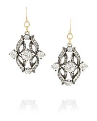 Lulu Frost | Metallic Rococo Silvertone Crystal Drop Earrings | Lyst