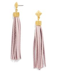 BaubleBar | Pink Leather Tassel Drop Earrings - Lavendar | Lyst