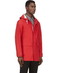 Burberry Prorsum Red Hooded Rain Coat for men
