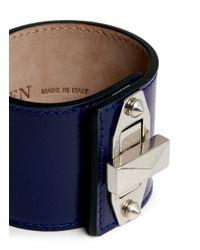 Alexander McQueen Blue Bridge Twist Lock Wide Leather Bracelet