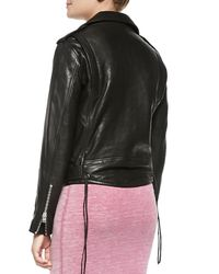 IRO - Black Wilma Asymmetric-zip Leather Moto Jacket - Lyst