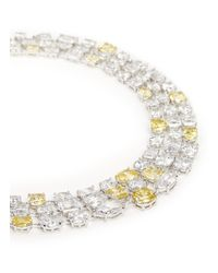 CZ by Kenneth Jay Lane | Yellow Mix Cubic Zirconia Three Strand Necklace | Lyst