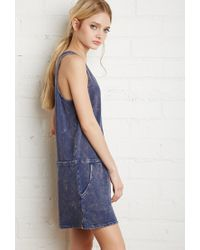 Forever 21 | Blue Drawstring Mineral Wash Dress | Lyst