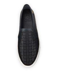 Tory Burch Blue Lennon Laser-cut Slip-on Sneaker