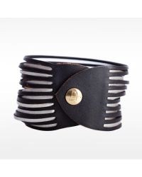 Linea Pelle | Black Two Tone Sliced Bracelet | Lyst
