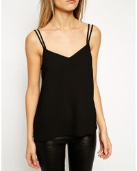 ASOS - Black Woven Cami Top With Double Straps - Lyst