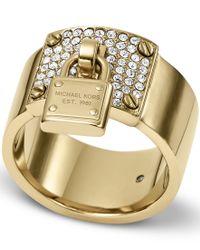 Michael Kors Metallic Brilliance Padlock Ring  Ring Size P  Ml