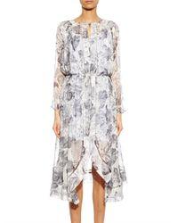 Zimmermann | Gray Seer Floral-Print Silk Dress | Lyst