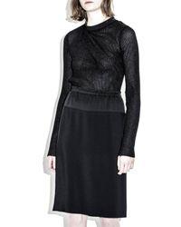 3.1 Phillip Lim - Black Paperbag Waist Knee Length Skirt With Yoke - Lyst