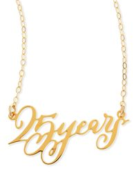 Brevity | Metallic 25 Years Anniversary Calligraphy Necklace | Lyst