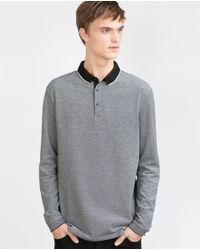 Zara | Gray Oxford Polo Shirt for Men | Lyst