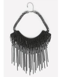Bebe | Black Fringe Bib Necklace | Lyst