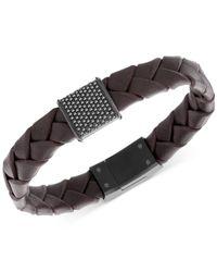 Swarovski | Men's Capture Black Pvd Metal Brown Leather Bracelet for Men | Lyst