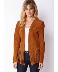 Forever 21 | Brown Contemporary Fringed Suede Jacket | Lyst