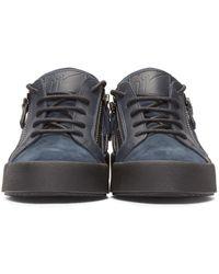 Giuseppe Zanotti Blue Navy Leather Low-top London Sneakers for men