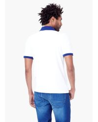 Mango - White Slim-fit Contrast Collar Polo Shirt for Men - Lyst