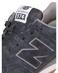 New Balance - Blue 574 Suede Sneakers - Lyst