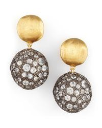 Marco Bicego | Metallic Africa Gold Pave Sapphire Double-drop Earrings | Lyst