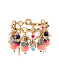 J.Crew Multicolor Jeweled Color Burst Charm Bracelet