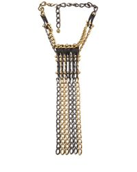 Lanvin | Metallic Leather Chain Necklace | Lyst