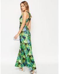 ASOS - Multicolor Cross Back Maxi Dress In Green Floral Print - Lyst