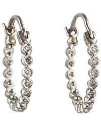 Cathy Waterman | Metallic White Diamond Circle Hoops Size Os | Lyst