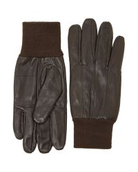 Howick Brown Leather Rib Cuff Gloves for men
