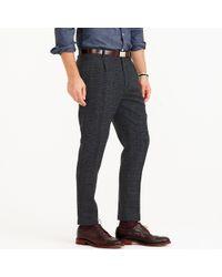 J.Crew Gray Pleated Trouser In Glen Plaid Wool for men