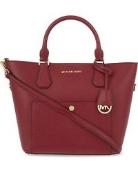 MICHAEL Michael Kors | Red Greenwich Large Saffiano Leather Tote | Lyst