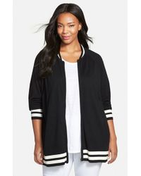 Sejour | Black Sweater Knit Bomber Jacket | Lyst