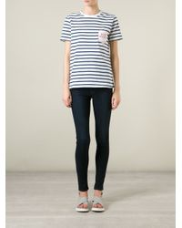 Être Cécile - Blue 'Boob Pocket' Striped T-Shirt - Lyst