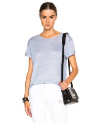 T By Alexander Wang Blue Linen Silk Jersey Oversized Tee