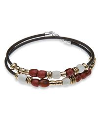 Platadepalo | Brown Classic Red & White Resin Bracelet | Lyst