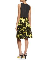 Carolina Herrera - Yellow Sleeveless Tromp L'oeil Dress W/ Contrast Skirt - Lyst