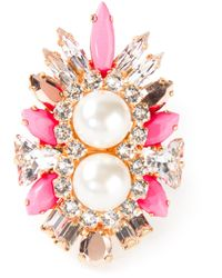 Shourouk - Multicolor Lady Woolit Gold-plated Swarovski Pearl and Crystal Ring - Lyst