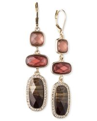 Anne Klein | Purple Gold-tone Burgundy Stone Drop Earrings | Lyst