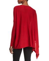 Donna Karan - Red Asymmetric Cashmere Poncho Top - Lyst