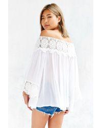 Kimchi Blue - White Crochet Wide-sleeve Blouse - Lyst