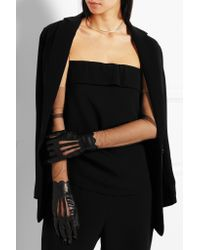 Maison Margiela - Black Leather And Stretch-mesh Gloves - Lyst