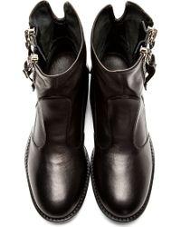 Giuseppe Zanotti - Black Leather Buckle Boots for Men - Lyst
