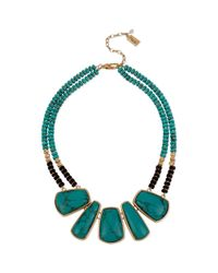 Kenneth Cole - Green Gold Tone Beaded Two Row Turquoise Frontal Necklace - Lyst