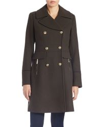 Vince Camuto | Green Double-breasted Military Walker Coat | Lyst